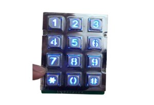Blue, green, white backlight numeric keypad with dot matrix diagram for Taiwan