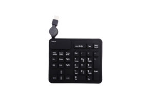 silicone rubber portable flexible 33 keys extended numeric keypad with retractable USB cable
