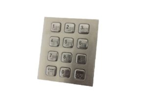 Vandal-proof stainless steel numeric keypad with raised Braille dots