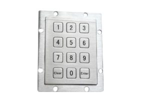 Vending machine numeric keypad with 12 keys,  indu keypad with rear panel mounting holes