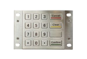 Vandal proof 16 keys numeric metal keypad with Cancel and Confirm buttons