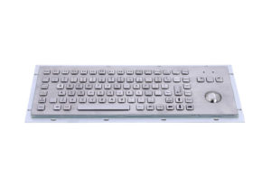 90-key industrial metal keyboard with FN and mechanical trackball