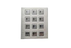 Vandal-proof stainless steel numeric keypad with Braille dots, IP65 numeric keypad