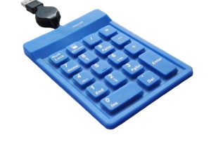 Blue IP68 sealed silicone numeric keypad, USB financial numeric keypad