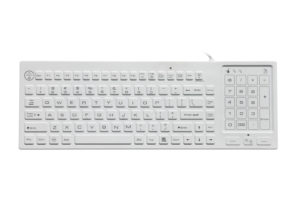 110 keys illuminated antimicrobial medical keyboard, with flat touchable numeric keypad