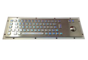 Illuminated stainless steel industrial keyboard with trackball of factory supply