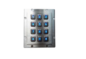 IP65 door access control USB numeric keypad with blue backlight