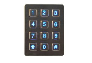 Access security control numeric keypad with 12 keys and LED backlight