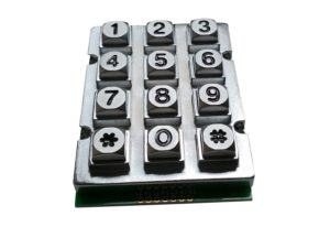 Black 12-key industrial numeric keypad with Taiwan circuit diagram for door access