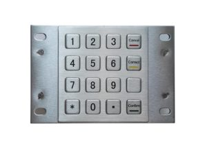 Rugged 4 x 4 stainless steel numeric keypad with RS232, Rs485, USB
