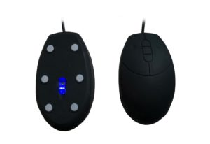 Black mini size medical silicone mouse with blue LED for hospital nurse