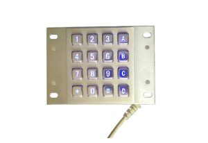 4 x 4 16 keys industrial metal numeric keypad with blue backlight