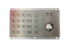 20-key metallic numeric keypad with F1 F2 F3 F4 and industrial optical trackball