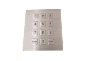 Embedded front panel mount numeric keypad with flat 12 buttons