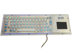 Full key travel stroke metal industrial keyboard with touchpad and backlight