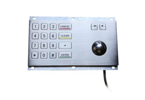 IP65 mechanical metal numeric keypad with 18 key and optical trackball mouse